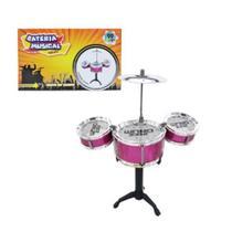 Mini Bateria Musical Infantil Com 3 Tambores e 2 Baquetas TOYS-190193 - 99Express