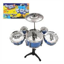 Mini Bateria Musical Infantil Com Baqueta Brinquedo Menino Menina - Popstar - fit