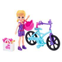 Mini Boneca e Veículo - Polly Pocket - Aventura Sobre Rodas - Bicicleta - Mattel -