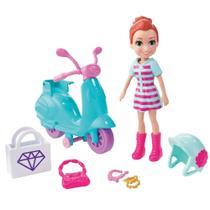 Mini Boneca e Veículo - Polly Pocket - Aventura Sobre Rodas - Motocicleta - Mattel -