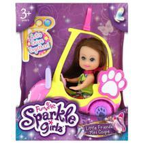 Mini Boneca - Sparkle Girlz - Mini Carro Sparkles GatinhoRosa com Boneca Morena - DTC -