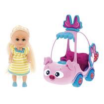 Mini Boneca - Sparkle Girlz - Mini Carro Sparkles Porquinho Rosa - DTC -