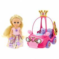 Mini Boneca Sparkle Girlz Mini Carro Sparkles Rosa DTC -