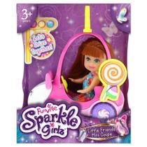 Mini Boneca - Sparkle Girlz - Mini Carro Sparkles Ursinho Branco e com Boneca Morena - DTC -