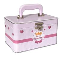 Mini Box Maleta 360 fotos 10x15 - 3 álbuns fotográficos - Minha Princesa Bebê Newborn Rosa Coroa - Pirlim Foto