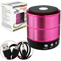 Mini Caixa Caixinha Som Portátil Bluetooth Mp3 Fm Sd Usb Hifi wireless pendrive Rosa - Jm