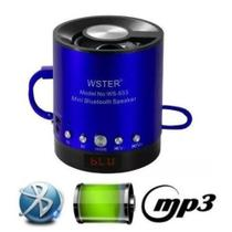 Mini Caixa de Som Portátil Speaker WS-633BT - Azul - Boas
