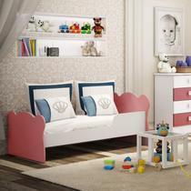 Mini Cama Infantil com Proteção Lateral 1590 Baby Móveis Percasa Branco/Rosa -
