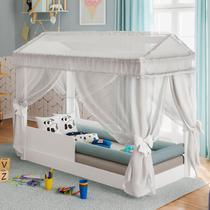 Mini Cama Infantil Montessoriana com Dorsel Branco e Grades de Proteção Pura Magia -