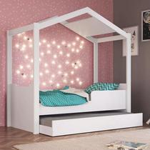 Mini Cama Montessoriana Com cama Auxiliar Branca BY740 - Outlet das Fábricas