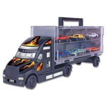 Mini Caminhão Carreta Com 6 Carrinhos Criança Menino Braskit -
