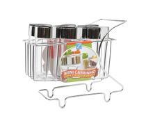 Mini Carrinho com 6 Porta Condimentos Arthi - Cromado -