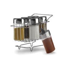 Mini Carrinho Com 6 Porta Condimentos Cromado - Arthi -