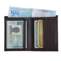 Mini Carteira 03 - Carteira Pequena de Bolso em Couro (381TN03) Slim - Porta CNH, Cartões, Cédulas - Kênia Kátia