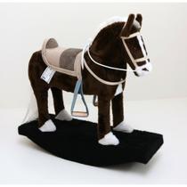 Mini Cavalinho De Balanço Marrom - Pelúcia - Madeira - Cavalinho Infantil - Brinquedo Para - Cavalo Original