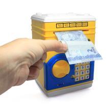 Mini Cofre - Cofrinho Digital Infantil De Moedas E Notas com Senha - Amarelo - Depositbox