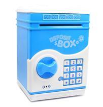Mini Cofre - Cofrinho Digital Infantil De Moedas E Notas com Senha - Azul - Depositbox