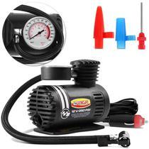 Mini Compressor de Ar Automotivo Luxcar Multiuso Compacto 12V 250 PSI 18 Bar Preto 3 Adaptadores -