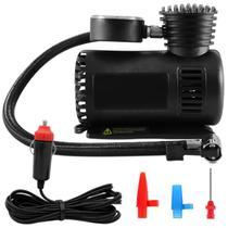 Mini Compressor de Ar Automotivo Multiuso Compacto 12V 300 PSI Manômetro 3 Bicos Bola Pneu Carro - Naveg