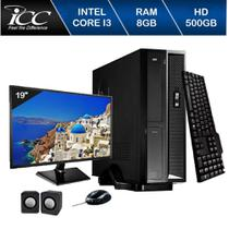 Mini Computador ICC I3 8gb HD 500GB DVDRW Kit Multimídia Monitor 19,5 Windows 10 -