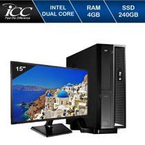 Mini Computador Icc Sl1847dm15 Intel Dual Core 4gb HD 240gb Ssd Dvdrw Monitor 15 -