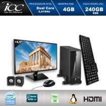 Mini Computador ICC SL1847KM18 Intel Dual Core 2.41ghz 4GB HD 240GB SSD Kit Multimídia USB3.0 FULLHD Monitor LED 18,5