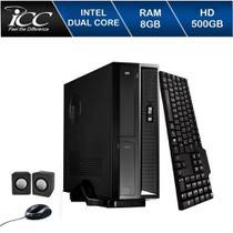 Mini Computador Icc Sl1881k Intel Dual Core 8gb Hd 500gb Kit Multimídia - Corporate