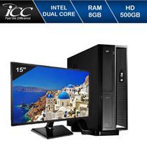 Mini Computador Icc Sl1881sm15 Intel Dual Core 8gb HD 500gb Monitor 15 -