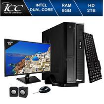 Mini Computador Icc Sl1883km15 Intel Dual Core 8gb HD 2tb Kit Multimídia Monitor 15 -