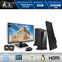 Mini Computador ICC SL1887CM18 Intel Dual Core 2.41ghz 8GB HD 240GB SSD DVDRW Kit Multimídia USB3.0  Monitor LED 18,5