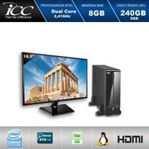 Mini Computador ICC SL1887DM18 Intel Dual Core 2.41ghz 8GB HD 240GB SSD DVDRW  USB 3.0 HDMI FULL HD Monitor LED 18,5