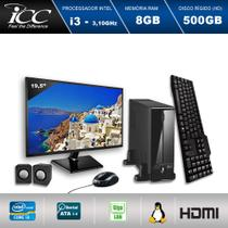 "Mini Computador ICC SL2381KM19 Intel Core I3 3.10 ghz 8GB HD 500GB Kit Multimídia HDMI FULLHD Monitor LED 19,5"" -"