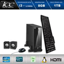 Mini Computador ICC SL2382C Intel Core I3 3.10 ghz 8GB HD 1TB DVDRW Kit Multimídia  HDMI FULL HD -