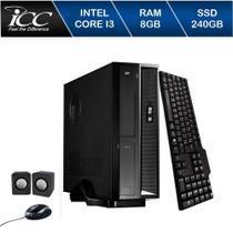 Mini Computador ICC SL2387C Intel Core I3 8gb HD 240GB SSD DVDRW Kit Multimídia WIndows 10 -