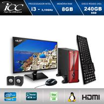 Mini Computador ICC SL2387CVM19 Intel Core I3 3.10ghz 8GB HD 240GB SSD DVDRW Kit Multimídia Vermelho Monitor LED 19,5