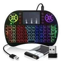 Mini controle teclado tv Sem Fio Para Smart Tv Pc - Backlit