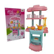 Mini cozinha infantil acessorios cheff completa fogao glam girls rosa - GIMP
