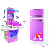 Mini Cozinha Infantil Completa + Geladeira Mágica Rosa Linda - Magic Toys