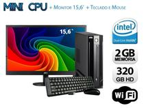Mini CPU Intel Dual Core, 2GB, HD 320GB,Wifi com Monitor, Teclado e Mouse - Alfatec