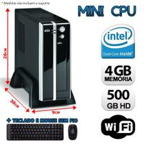 Mini CPU Intel Dual Core, 4GB, HD 500GB, Wifi com Kit Teclado e Mouse sem fio Logitech - Alfatec
