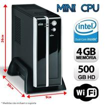 Mini CPU Intel Dual Core, 4GB, HD 500GB, Wifi com Serial e Paralela - Alfatec