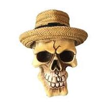 Mini de caveira resina panama hat beje 8 cm - Wellmix