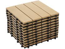 Mini Deck de Polipropileno Frisado Cumaru 30x30cm - Massol DE2992 10 Peças
