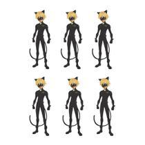 Mini Enfeite Personagem EVA Cat Noir Miraculous Ladybug 06 unidades Piffer - Festabox