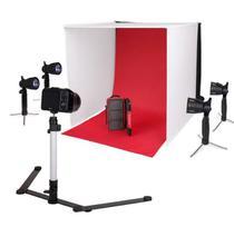 Mini Estudio Fotografico Portatil 60x60x60 - 4x5W LED e Placa Reflexão - Leadwin