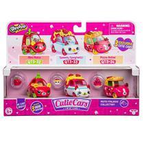 Mini Figura e Veículo - Shopkins Cuties Cars - 3 Unidades - Tomati Atalho, Derrapaguete e Pizza Zuuum - DTC -