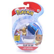 Mini Figura Pokémon e Pokebola Com Clip - Eevee e Super Ball - DTC -