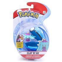Mini Figura Pokémon e Pokebola Com Clip - Mareanie e Bola Mergulho - DTC -