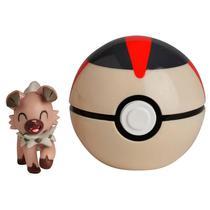 Mini Figura Pokémon e Pokebola Com Clip - ROCKRUFF/BOLA TEMPO - Dtc