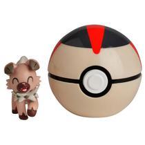 Mini Figura Pokémon e Pokebola Com Clip - Rockruff e Bola Tempo - DTC -